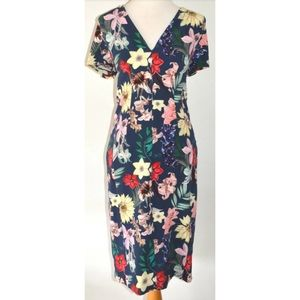 VERONIKA MAINE NAVY BOTANIC FLORAL MIDI DRESS 14